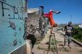 Men work out in the crime-ridden neighborhood of Brasil, in Praia
